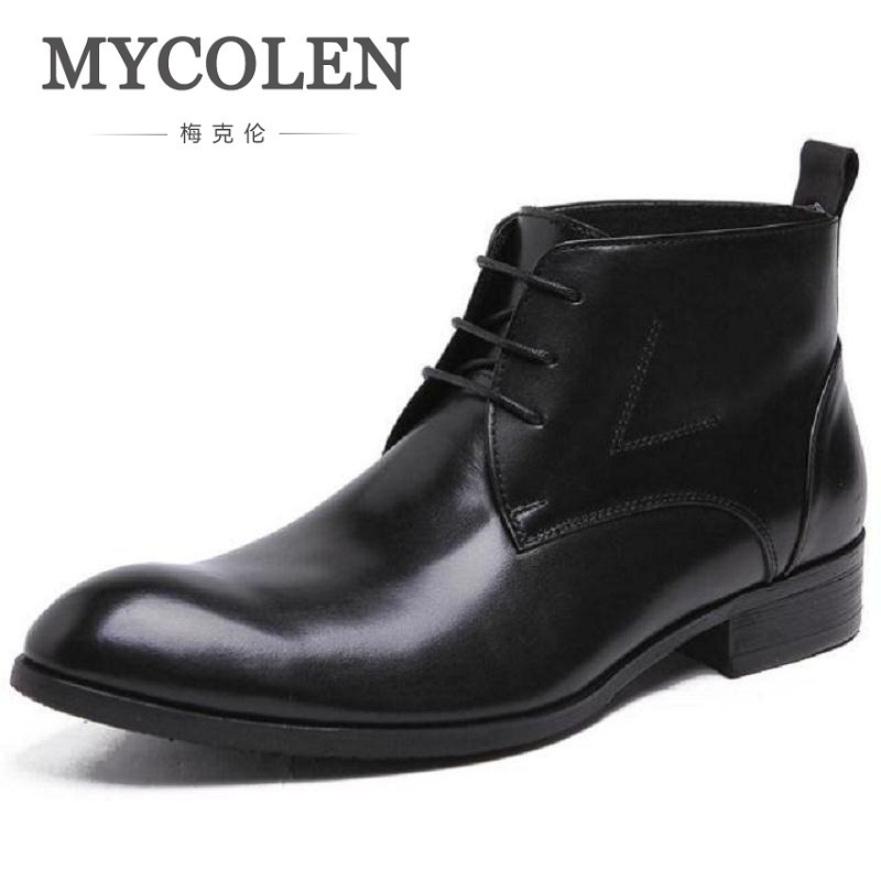 MYCOLEN Men Motorcycle Boots 2018 Autumn Designer Lace up Casual Boot Male Winter Boots High Top Genuine Leather Luxury Shoes mycolen 2017 fashion winter men boots british style working safety boots casual winter men shoes male black leather ankle boots