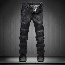 Небольшие прямые Черные джинсы мужчин страх божий прямой человек брюки Высокое качество дизайнер Бренда мужской брюки мальчика джинсы