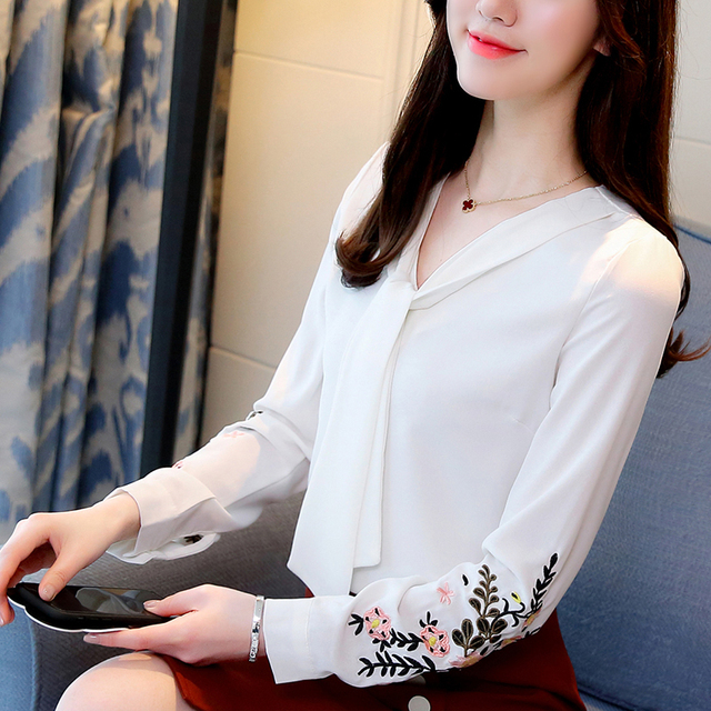 Long sleeve chiffon women blouse shirt fashion woman blouses 2018 office lady shirt women tops blusas feminine blouses 0547 30