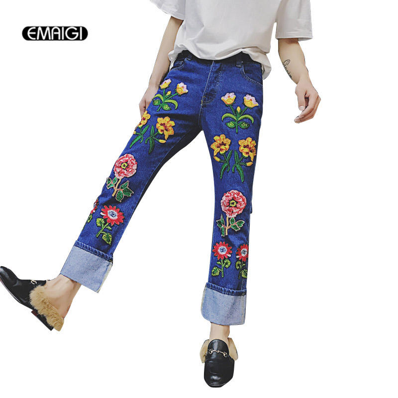 Men Straight Embroidered Flowers Jeans Fashion Show Men Women Denim Pant Male Long Jean  ...