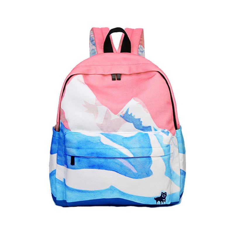 Cor-de-rosa impressão de lona feminina escola mochila mochila feminina mochilas escolares para adolescentes meninas mujer 2018