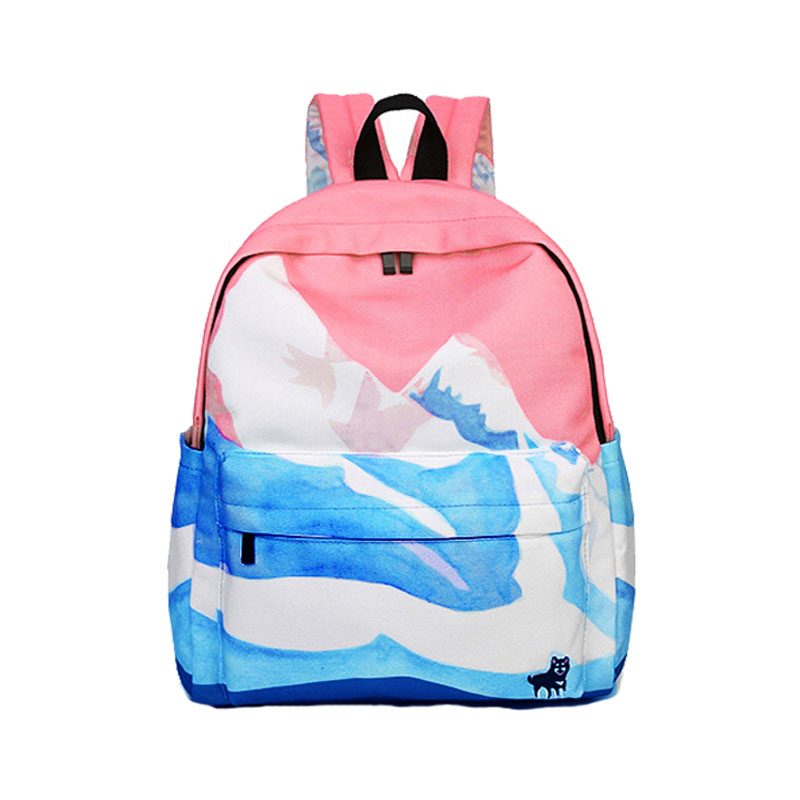 Rose impression toile femmes école sac à dos femme cartable sac à dos sacs d'école pour adolescentes Mochilas Mujer 2018