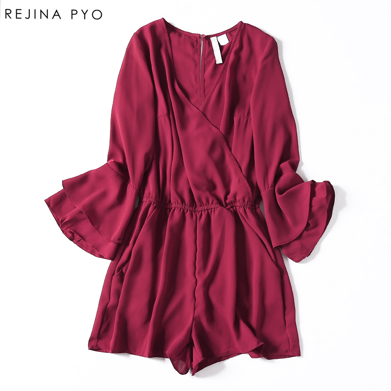 RejinaPyo Women Chiffon Floral Print Playsuits Female Sexy Loose Rompers Flare Sleeve Deep V-neck Ladies Bodysuits