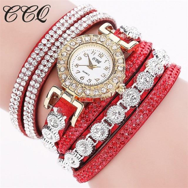 CCQ Fashion Luxury Women Rhinestone Bracelet Watches Ladies Quartz Watch Casual Women Wristwatches Clock Relogio Feminino Hot Accessories Female Watches Jewellery & Watches Women's Fashion