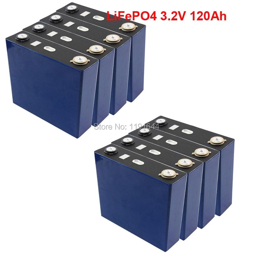 Pcs 3.2 v 120Ah 8 LiFePO4 Ciclos de Vida Longos 3500 Vezes Max 3C Para bateria de Armazenamento De Energia Solar E- bateria da bicicleta