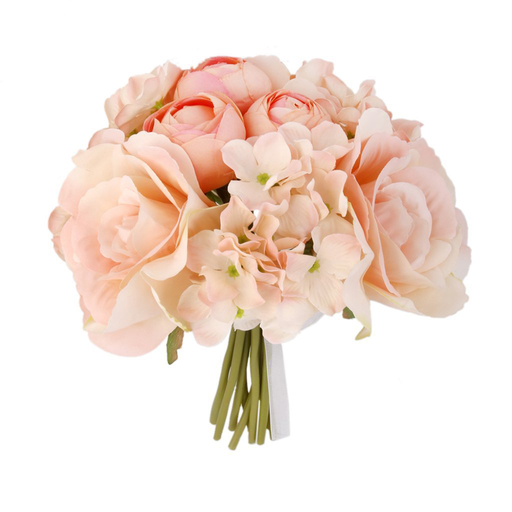 Compare prices on pink bridesmaid bouquet online shoppingbuy low 2017new artificial fake silk flower hydrangea wedding decor real like bridal bridesmaid bouquet pink dhlflorist Choice Image