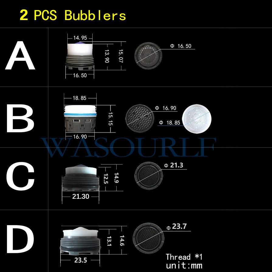 WASOURLF 2PCS Male Thread Aerator Tap Bubble Faucet External Concealed  Kitchen Basin Bathroom