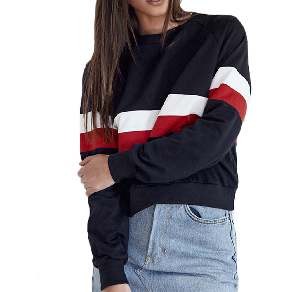 Free Ostrich Autumn Stitching Harajuku Women Hoodies Pullover Fleece Loose Female Tracksuits Casual O Neck Sweatshirt C2835