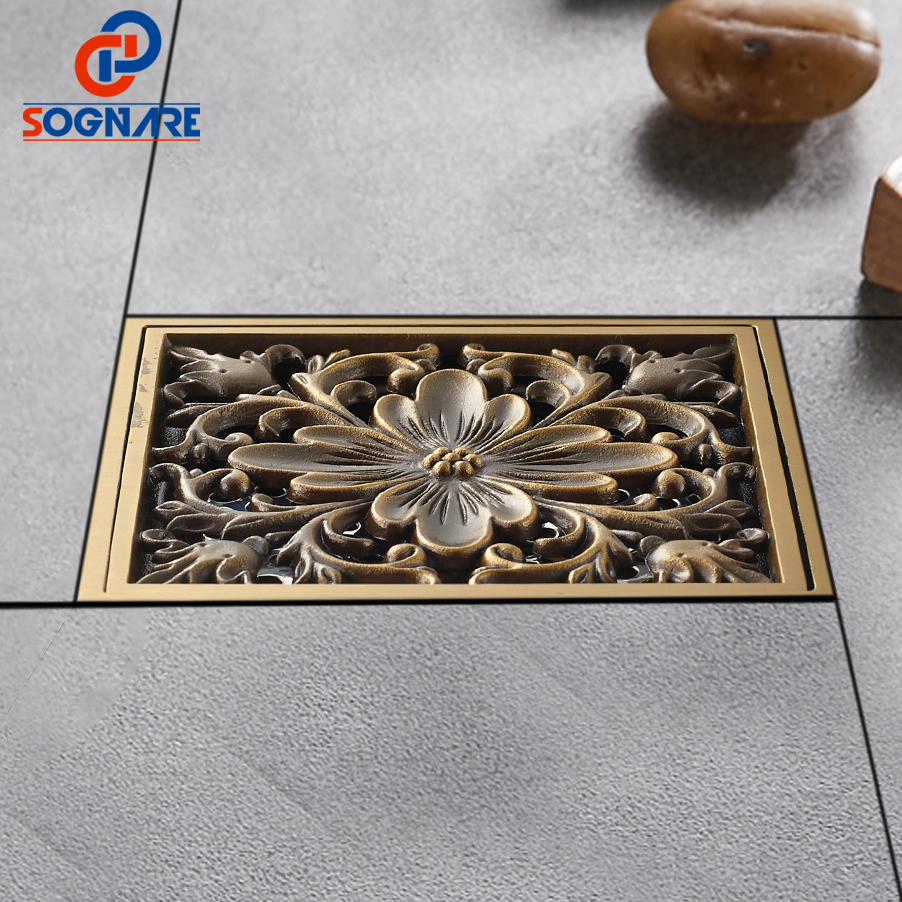 SOGNARE 10*10cm Antique Brass Art Carved Cover Square Shower Floor Drain Trap Waste Grate With Hair Strainer Deodorant BathDrain