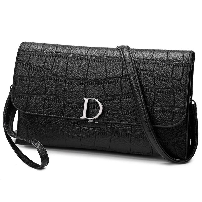 2017 NEW black fashion vintage plaid shoulder women bag high quality solid Ladies Office party Messenger crossbody leather Bag 2