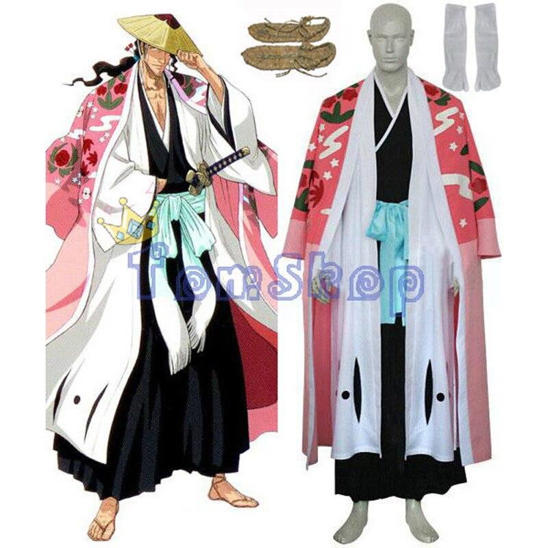 Отбеливать 8th дивизии капитан Kyouraku Shunsui Косплэй костюм изготовление размеров под заказ экспресс-доставка