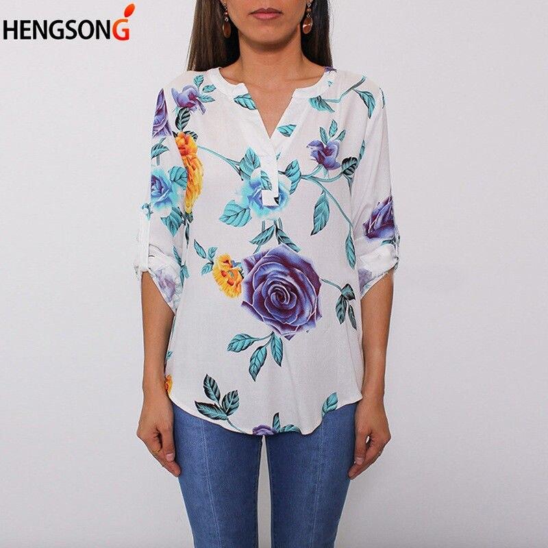 Women's Clothing Autumn Women Blouses Rose Flower Print Long Sleeve Tops Shirt Slash Neck Collar Cotton Shirts Plus Size Blouse Blusas #zi5850