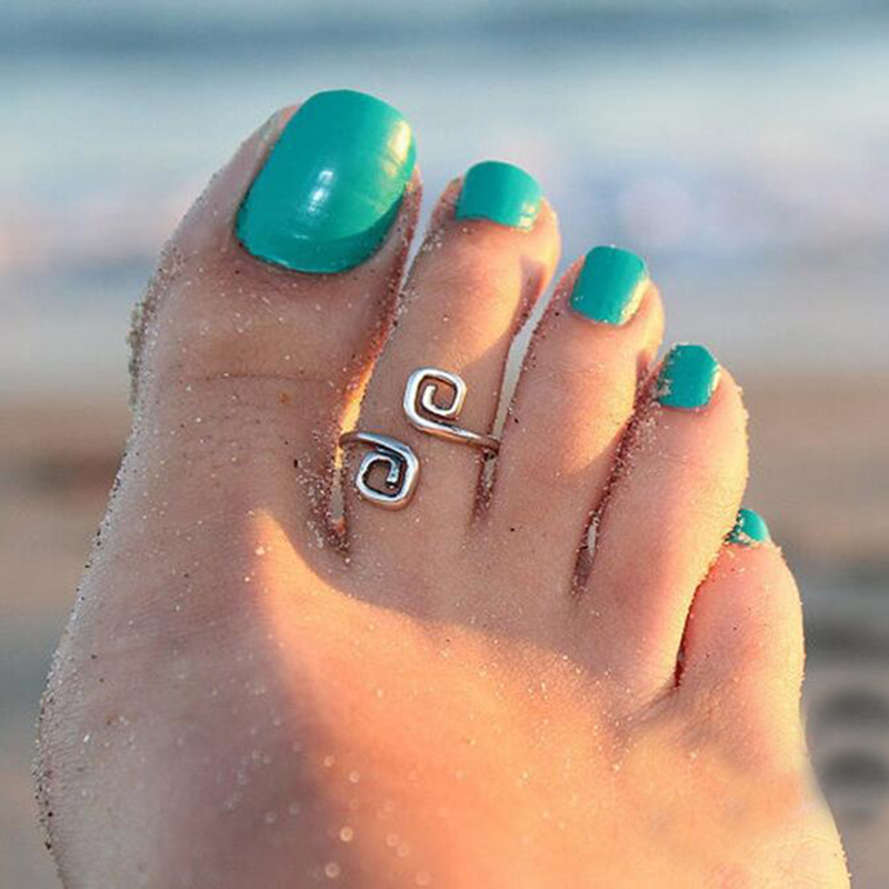 New Fashion Beach Foot Ring Unique Vintage Argento Anelli piede per le donne Gioielli per le donne Bijoux Retro Luck Numero 8 Ring