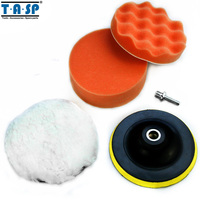 Free Shipping 4Pc 6 Inch Buffing Pad Kit Compound Polishing Auto Car Detail Drill Adapter M14