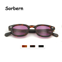 High Quality Johnny Depp Sunglasses Men Acetate Small Round Glasses Uv400 Medium Brand Designer Retro Women'S Tint Sunglasses