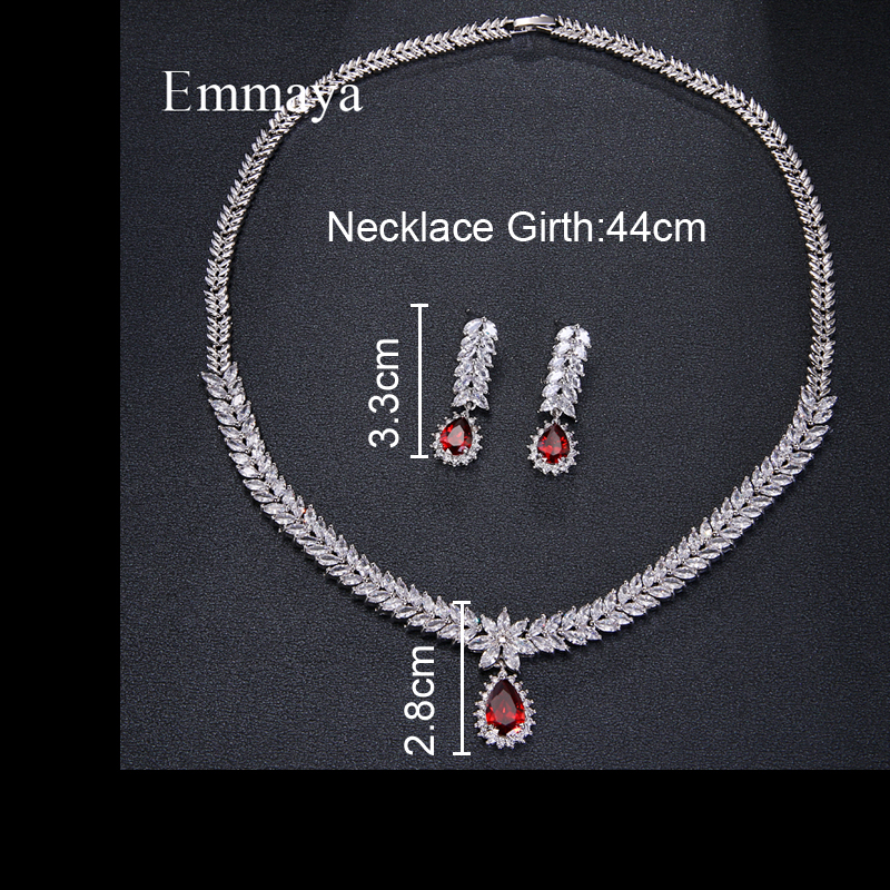 Emmaya Luxury AAA Cubic Zircon 4 Colors Water Drop Wedding Earrings Necklace For Women Bridal Jewelry Sets Party Accessories