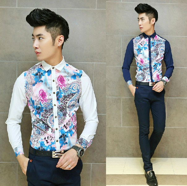 2015 Chinese Style Floral Print Fashion Men Shirt Office Evening