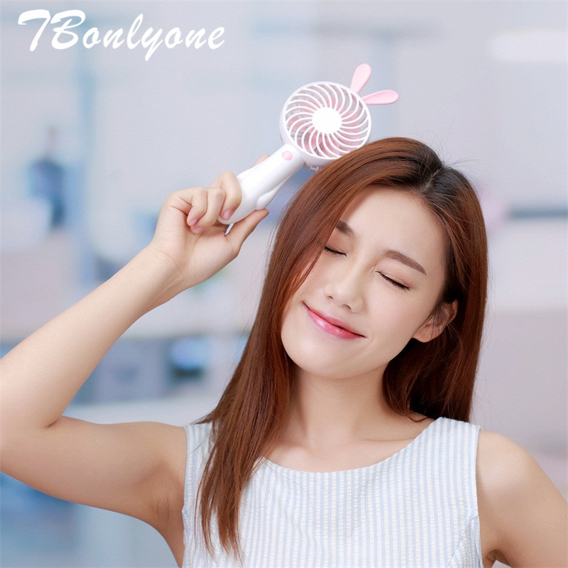 TBonlyone 1200mAh Cute Rabbit Bear Fan for Office Outdoor Baby Travel Pokect USB Fan Battery Rechargeable Fan Mini Fan