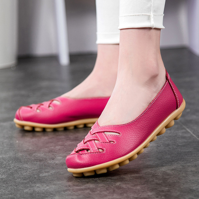Casual Shoes Women Sandals Plus-Size Genuine-Leather Summer New-Fashion Hollow-Out Woman