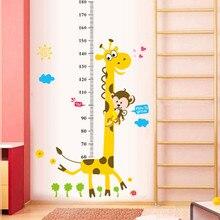 Детская диаграмма роста, настенная наклейка, Декор, мультяшный жираф, высота, линейка, наклейки на стену, украшение для дома, комнаты, настенная художественная наклейка, плакат