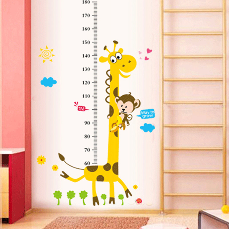 Kinderen hoogte grafiek muursticker Decor Cartoon Giraffe hoogte liniaal muurstickers Home kamer decoratie Wall Art Sticker Poster