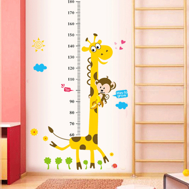 kids height chart wall sticker decor cartoon giraffe height ruler