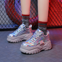 SWONCO Leather Sneakers Shoes Woman 2019 Spring Wedge Heel Chunky Sneakers For Woman Ladies Casual Shoes White/red Sneaker Black