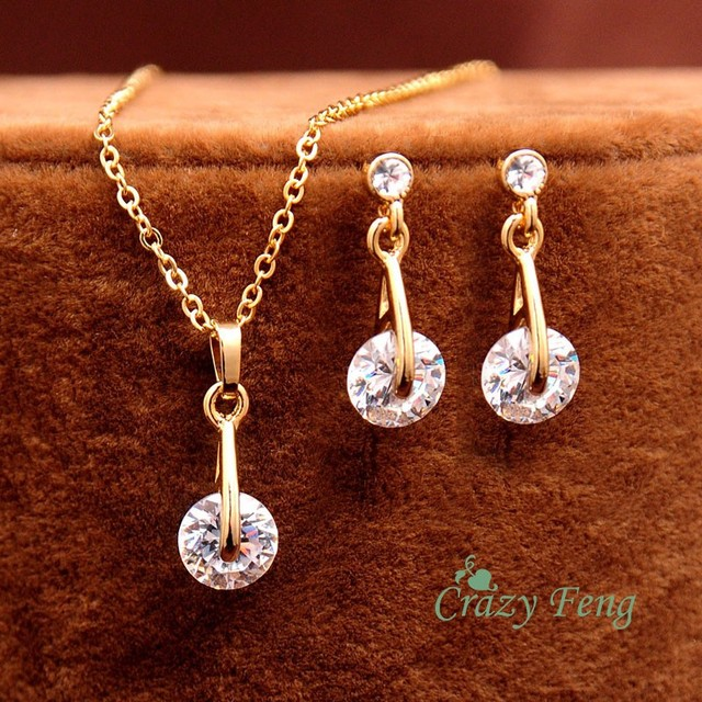 High Quality  Yellow Gold Plated CZ Diamond Pendant Necklace Earrings Set for Women Luxury Wedding Jewelry Sets Free Shipping