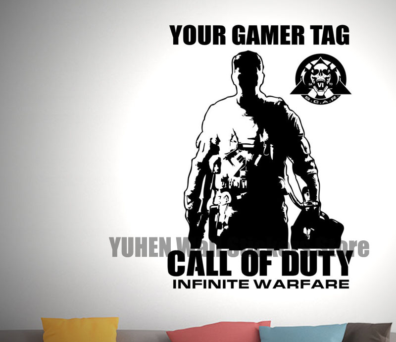 Call of Duty Infinite Warfare & Gamer Tag - Vinyl Transfer - Wall Sticker - Gaming - Boys Bedroom