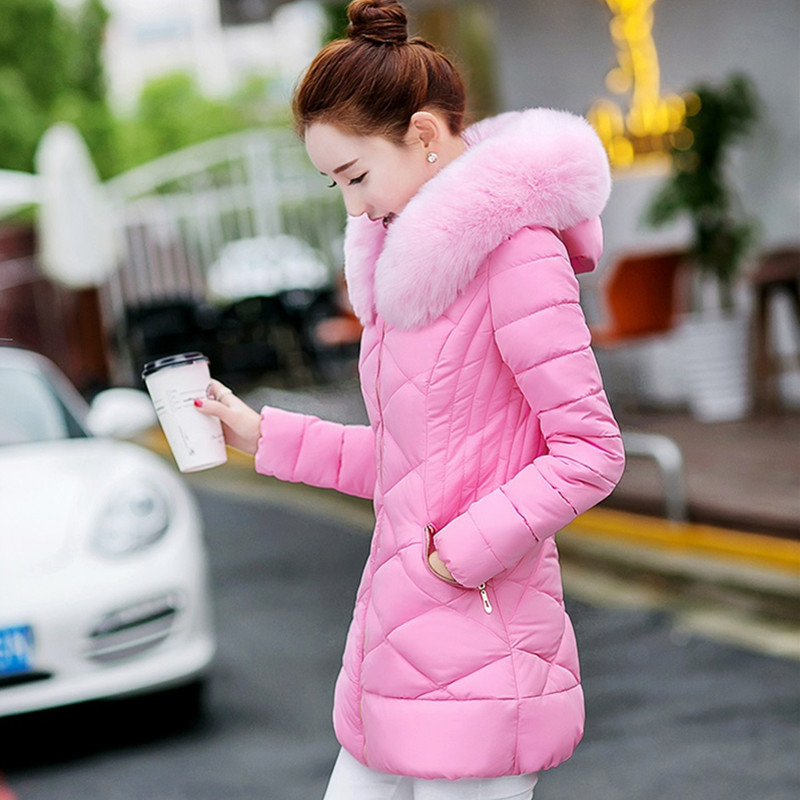 Yagenz Zipper Tops 2018 Fourrure De Femmes 610 D'hiver À Beige pink black blue Coton Vers Vêtements Bas Parkas Mujer Col White Pink Slim Le Capuchon Vestes Mode light gray rqrCwU