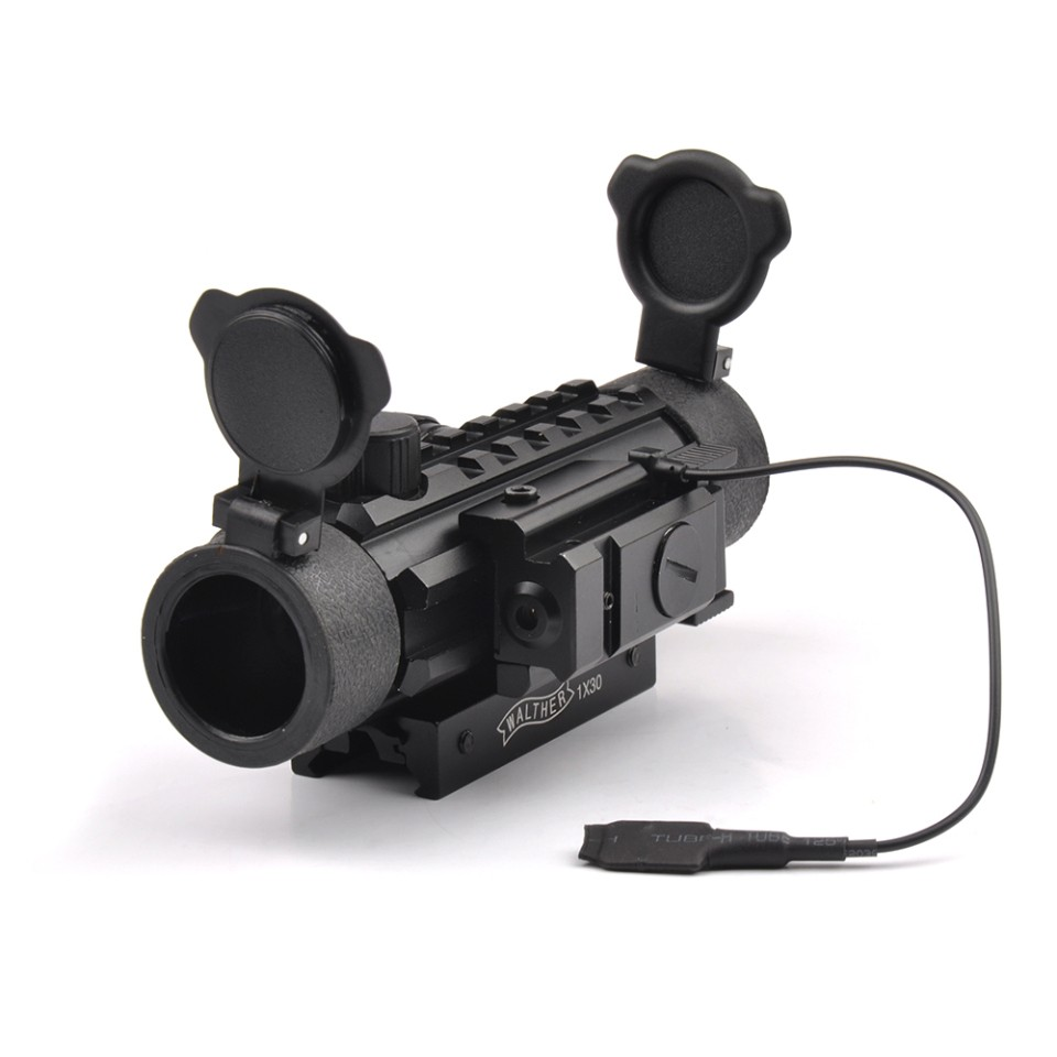Tactical Green Red Dot Scope 1X30 Optic Scope Sight with Red Dot Laser Sight of 20mm Mount for Airsoft Rifle   Shotguns 3 10x42 red laser m9b tactical rifle scope red green mil dot reticle with side mounted red laser guaranteed 100%