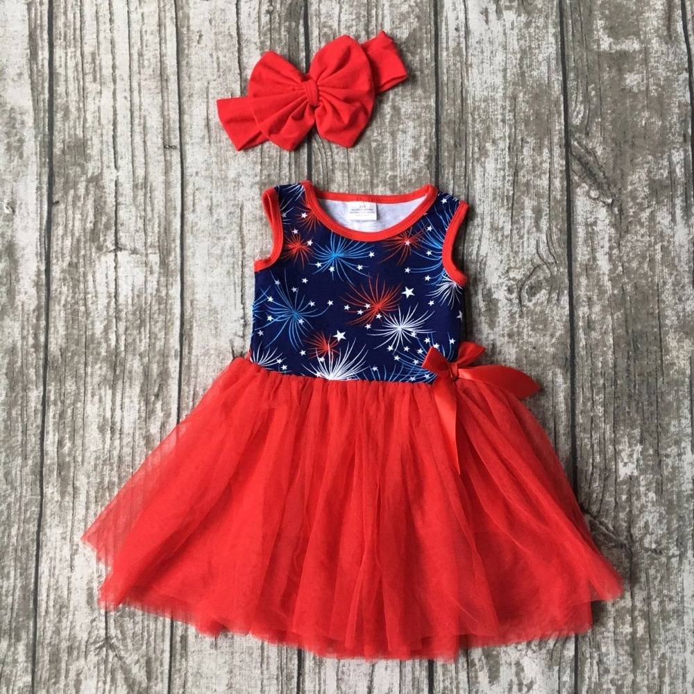 new summer baby girls red kids boutique clothes Fireworks print lace sleeveless Starry sky print belt