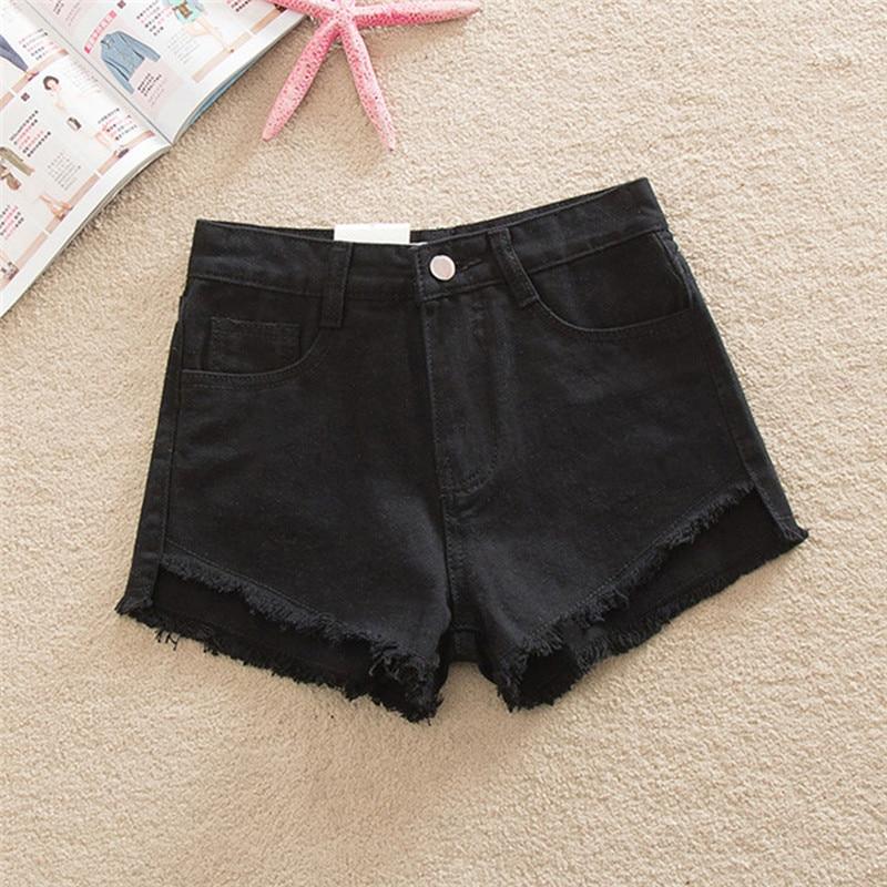 4 colores borla detalles 2018 Denim Pantalones cortos mujeres corto  Vaqueros para las mujeres Pantalones alta cintura femenina Pantalones cortos  Vaqueros ... 85576763025c