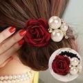 Mulheres Flores de Fita Estilo Simulado Pérolas Headband Decoração Liga faixas de Cabelo Elásticos para Meninas Acessórios Para o Cabelo