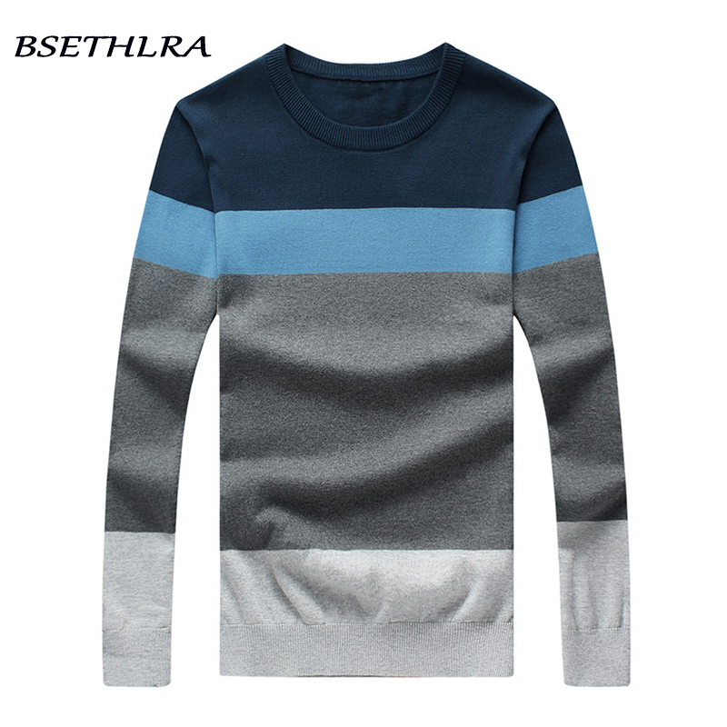 BSETHLRA 2018 New Sweater Men Autumn Hot Sale Top Design Patchwork Cotton Soft Quality Pullover Men O-neck Casual Brand Clothing