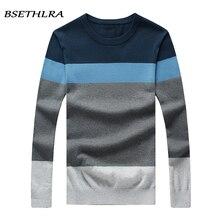 Bsethlra 2017 Новый свитер Для мужчин осень Лидер продаж Топ Дизайн лоскутное хлопок мягкий качество пуловер Для мужчин с круглым вырезом Повседневное брендовая одежда