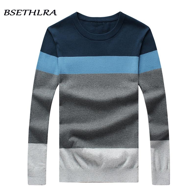 Bsethlra 2018 Новый свитер Для мужчин осень Лидер продаж Топ Дизайн лоскутное хлопок мягкий качество пуловер Для мужчин с круглым вырезом Повседневное брендовая одежда