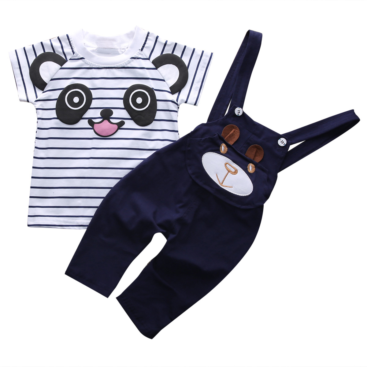 2018 New Fashion 2PCS Newborn Kids Baby Boy Girls Short Sleeve Striped Bear T-shirt Tops+Pants Overalls 2Pcs Outfits Clothes Set