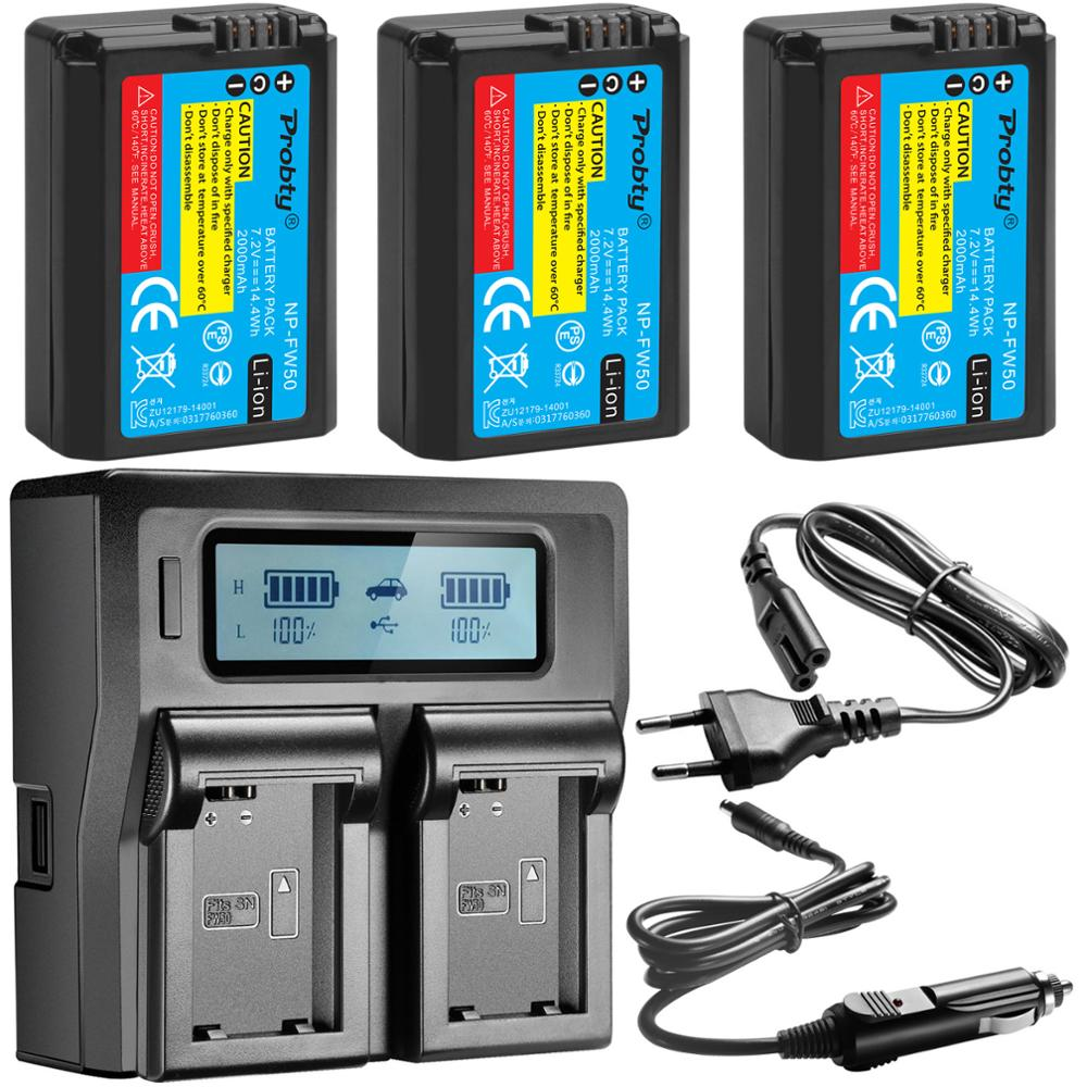 FOR SONY NP-FW50 NP FW50 Camera Battery +Rapid LCD Charger For Sony Alpha A6500 A6300 A6000 A5000 A3000 NEX-3 A7R A7S NEX-7