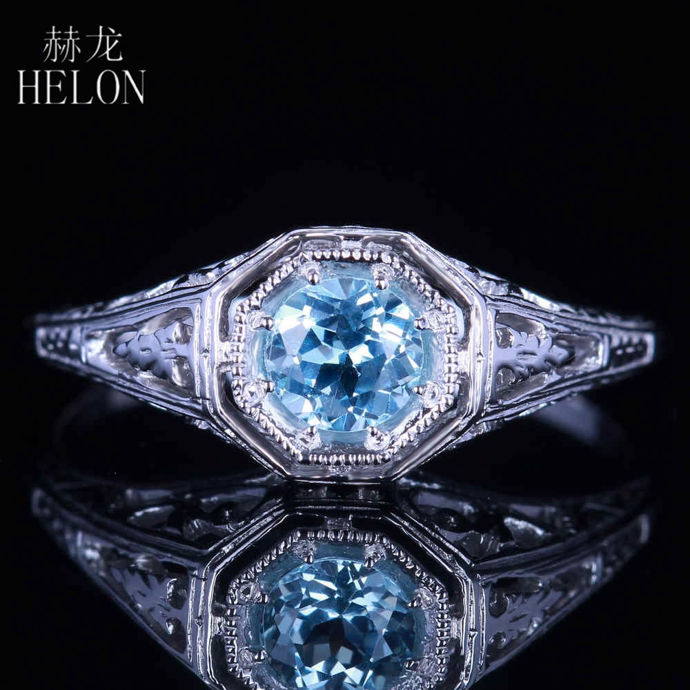 HELON Solid 14K White Gold 4.5mm Round Cut Sky Blue Topaz Ring Vintage Style Gemstone Fine Ring Art Deco Ring Women Fine Jewelry цепочка плетения якорное из серебра с позолотой