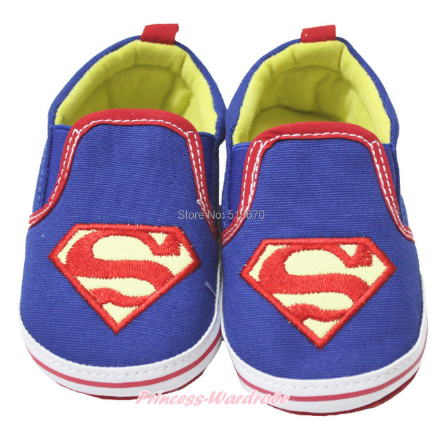 Halloween Super Hero Blue Red Slip On Infant Baby Crib Shoes NB-18M MAAS0001
