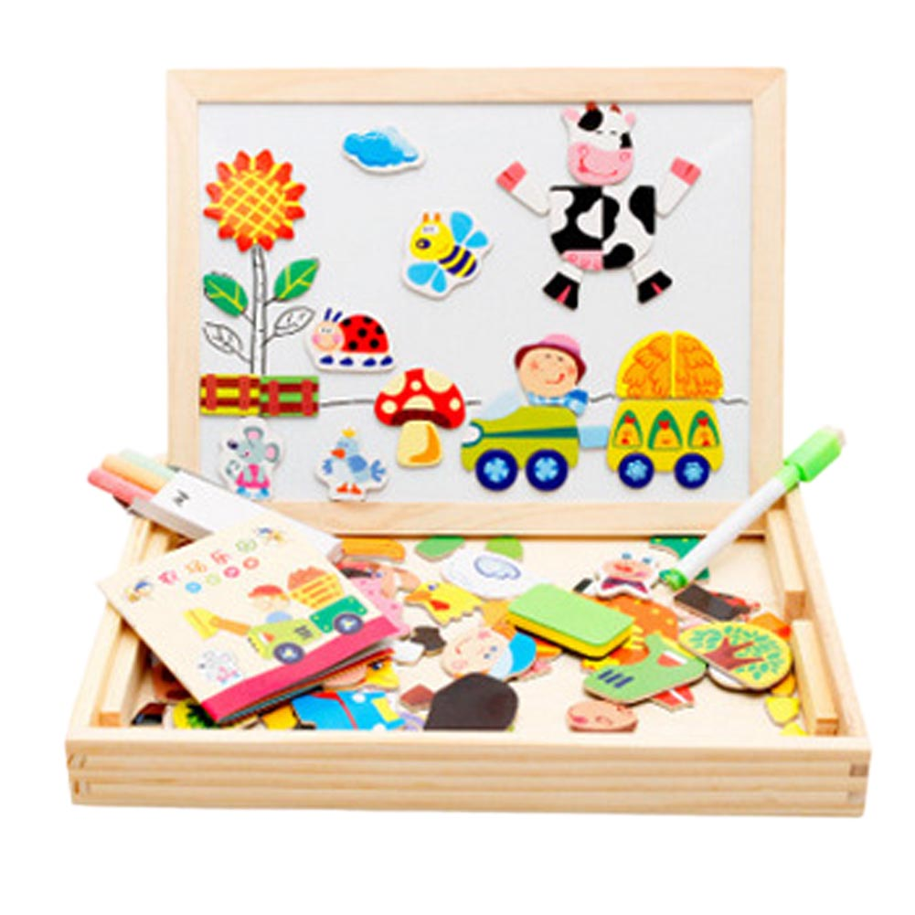 все цены на  New Multifunctional Educational Farm Jungle Animal Wooden Magnetic Puzzle Toys For Children Kids Baby's Drawing Easel Board  в интернете