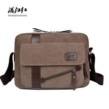 New Vintage Canvas Shoulder Bag Men Fashion Patchwork Leather Men Messenger Bags Casual Crossbody Bags For Men Male Satchel 1294 цены онлайн