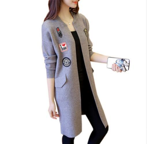 Femmes Automne Bule Longues Décontractés Outwear Chandails Appliques Manteau red Long Tricot Grey 2019 Cardigan Nave Manches À Mode gray Surdimensionné Nouvelle D'hiver Manteaux qxHwtPgp8