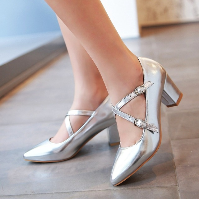 New 2016 pointed toe pumps women shoes thick heel purple wedding shoes woman high heels summer shoes lady green shoes for women