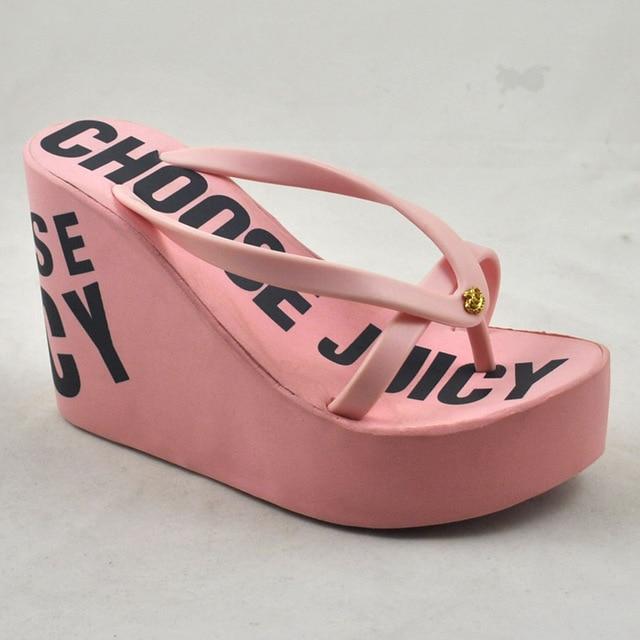 25f78721f2b Summer Women ultra high heels flip flops shoes flip sandals wedges slippers  rubber sole