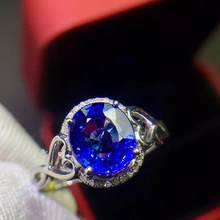 Tanzanite Ring Fine Jewelry Real Pure 18 K Gold AU750 100% Natural Tanzania Tanzanite Gemstone Female Rings for Women Fine Ring(China)