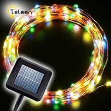 TSLEEN 10m 100 LED Solar Power String Light Waterproof Copper Wire Lamp For Outdoor Lighting Christmas Wedding Decoration Lights