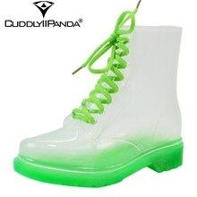 Новинка 2017: прозрачные непромокаемые сапоги в 14 цветах Дамские водонепроницаемые ботинки Martin Прозрачная обувь для дождя Botas Feminina Zapatos Mujer