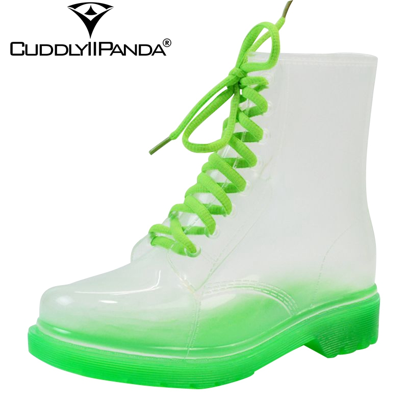 2018 New Arrival 14 Colors Transparent Rain Boots Women Waterproof Martin Boots Water Jelly Shoes Botas Feminina Zapatos Mujer